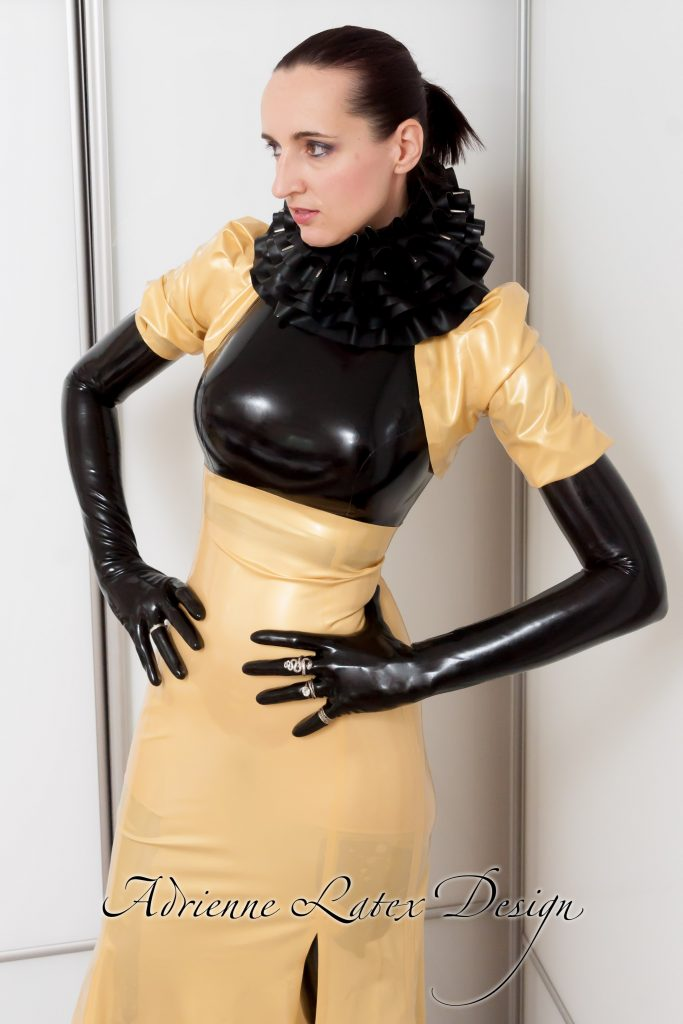 Adrienne in gold latex